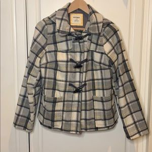 Old Navy Plaid Winter Coat with Hood M